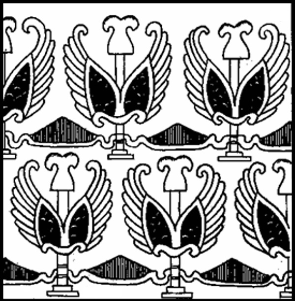Ремесла и торговля Тохаристана. Образец орнамента тохаристанских тканей (по росписям Балалык-тепе)