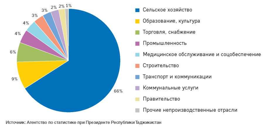 Рисунок 2.12. Отраслевая структура занятости РТ в 2010 году