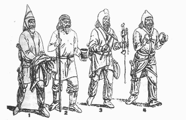 Костюмы народов Средней Азии V в. до н. э. (по ахеменидским рельефам) 1 — сак-тиграхауда, 2 — бактриец, 3 — согдиец, 4 — хорезмиец