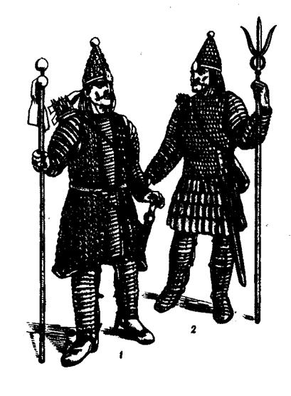 Упадок Кушанского царства. Кушанские цари в боевом облачении 1 - с монеты Канишки III, 2- с монеты Васудевы