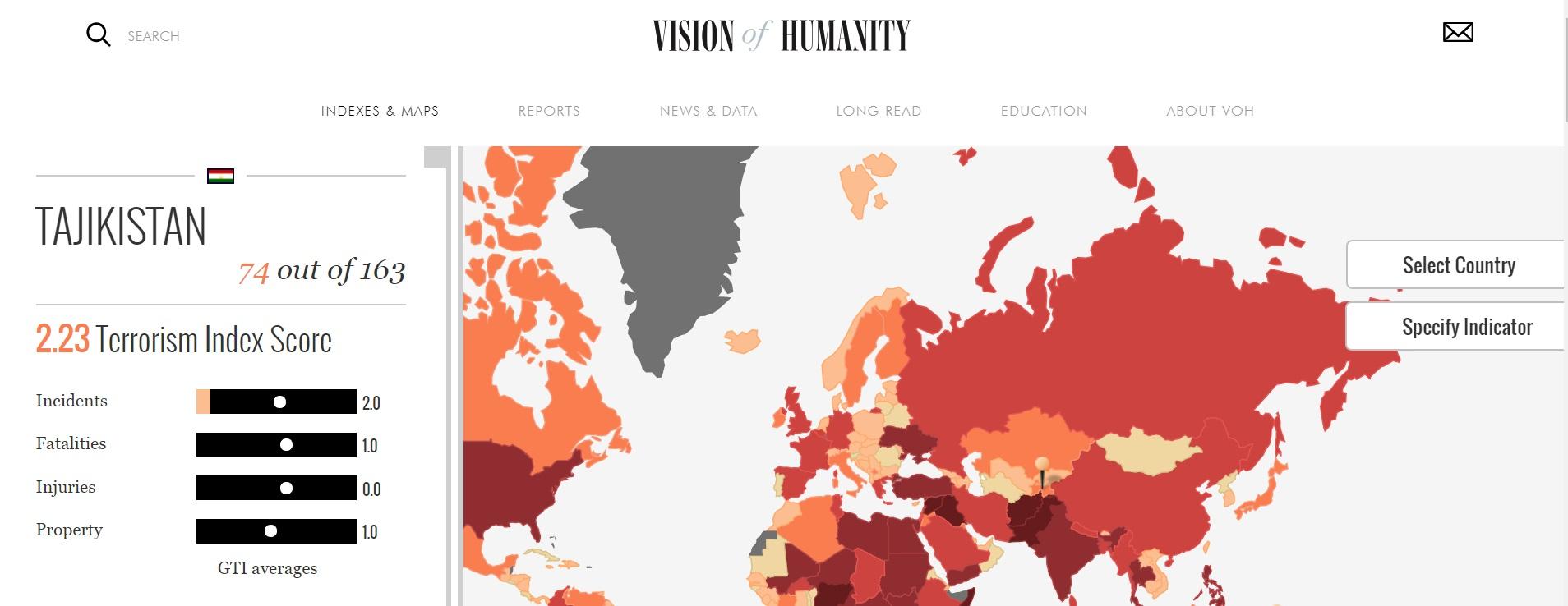 Глобальный индекс терроризма 2018 - Таджикистан